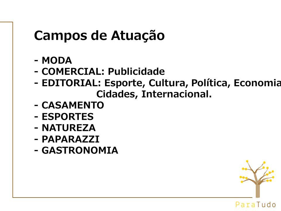 Campos de Atuação - MODA - COMERCIAL: Publicidade - EDITORIAL: Esporte, Cultura, Política, Economia, Cidades, Internacional.