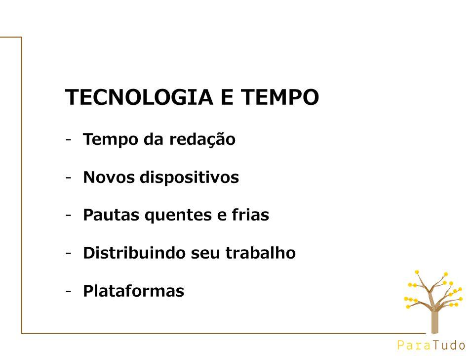 TECNOLOGIA E TEMPO -Tempo da redação -Novos dispositivos -Pautas quentes e frias -Distribuindo seu trabalho -Plataformas