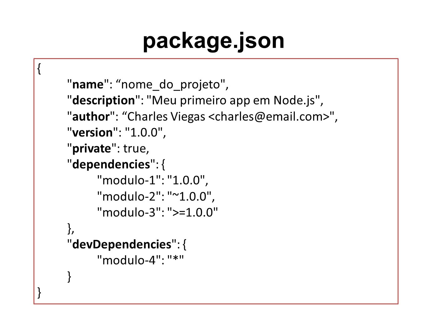 package.json { name : nome_do_projeto , description : Meu primeiro app em Node.js , author : Charles Viegas , version : 1.0.0 , private : true, dependencies : { modulo-1 : 1.0.0 , modulo-2 : ~1.0.0 , modulo-3 : >=1.0.0 }, devDependencies : { modulo-4 : * }
