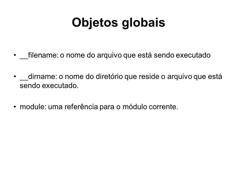 Objetos globais __filename: o nome do arquivo que está sendo executado __dirname: o nome do diretório que reside o arquivo que está sendo executado. m
