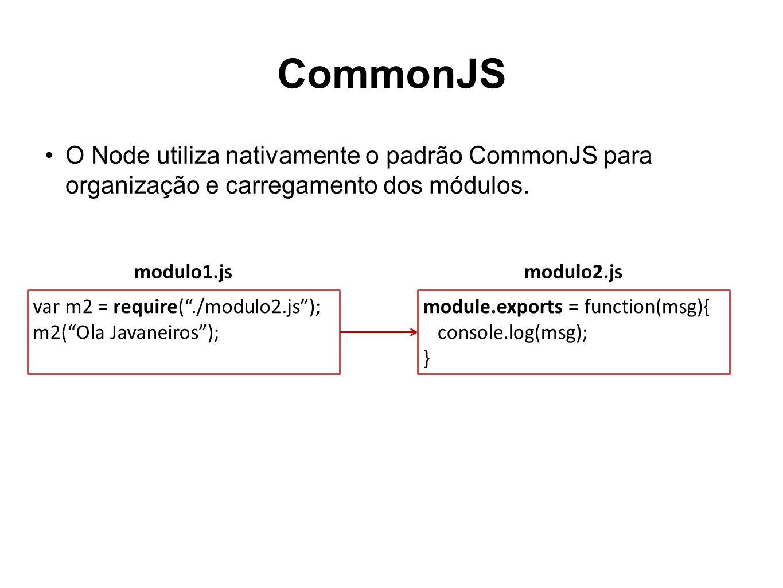 CommonJS O Node utiliza nativamente o padrão CommonJS para organização e carregamento dos módulos. module.exports = function(msg){ console.log(msg); }