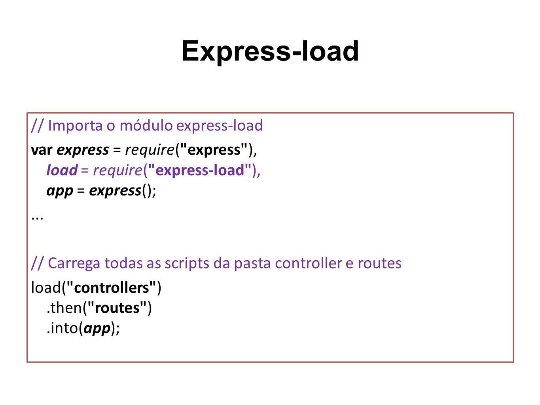 Express-load // Importa o módulo express-load var express = require(