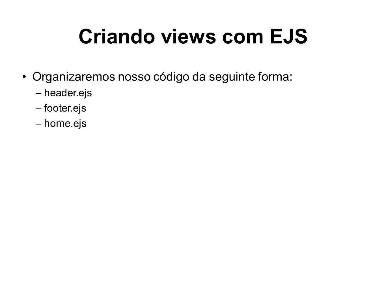 Criando views com EJS Organizaremos nosso código da seguinte forma: –header.ejs –footer.ejs –home.ejs