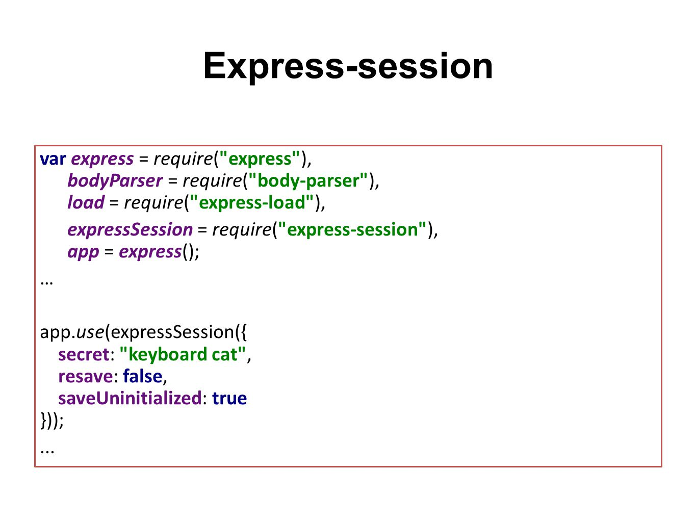 Express-session var express = require(