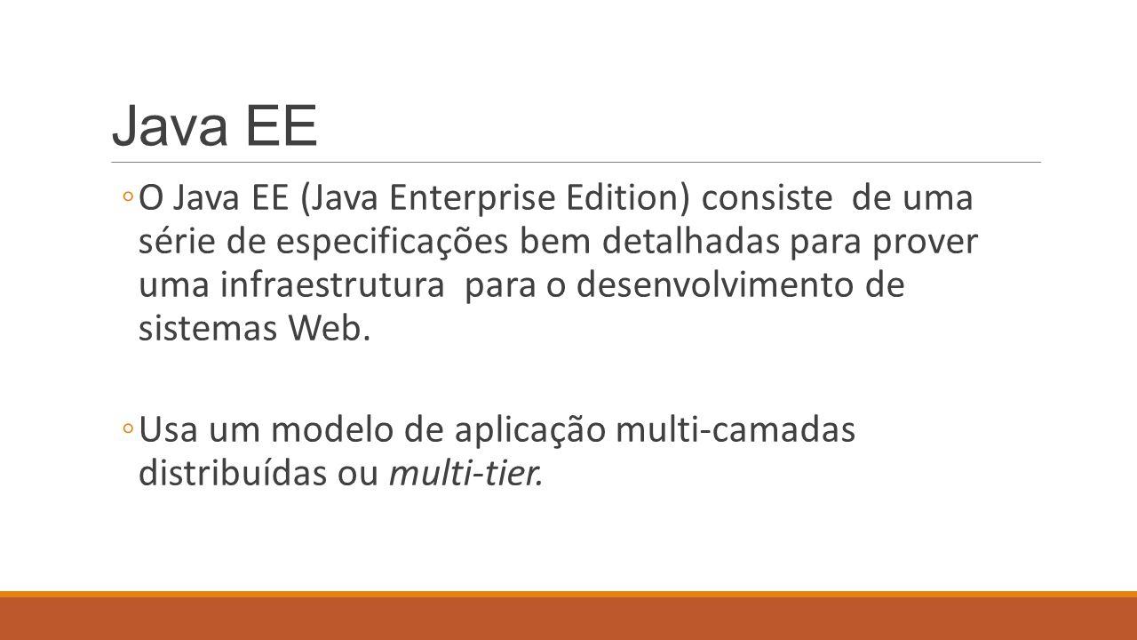 Especificações do Java EE ◦JavaServer Pages (JSP), Java Servlets, Java Server Faces (JSF) – trabalhar para a Web ◦Enterprise Javabeans Components (EJBs) e Java Persistence API (JPA) – objetos distribuídos, clusters, acesso remoto a objetos, etc) ◦Java API for XML Web Services (JAX-WS), Java API form XML Binding (JAX-B) – trabalhar com arquivos.xml e webservices.