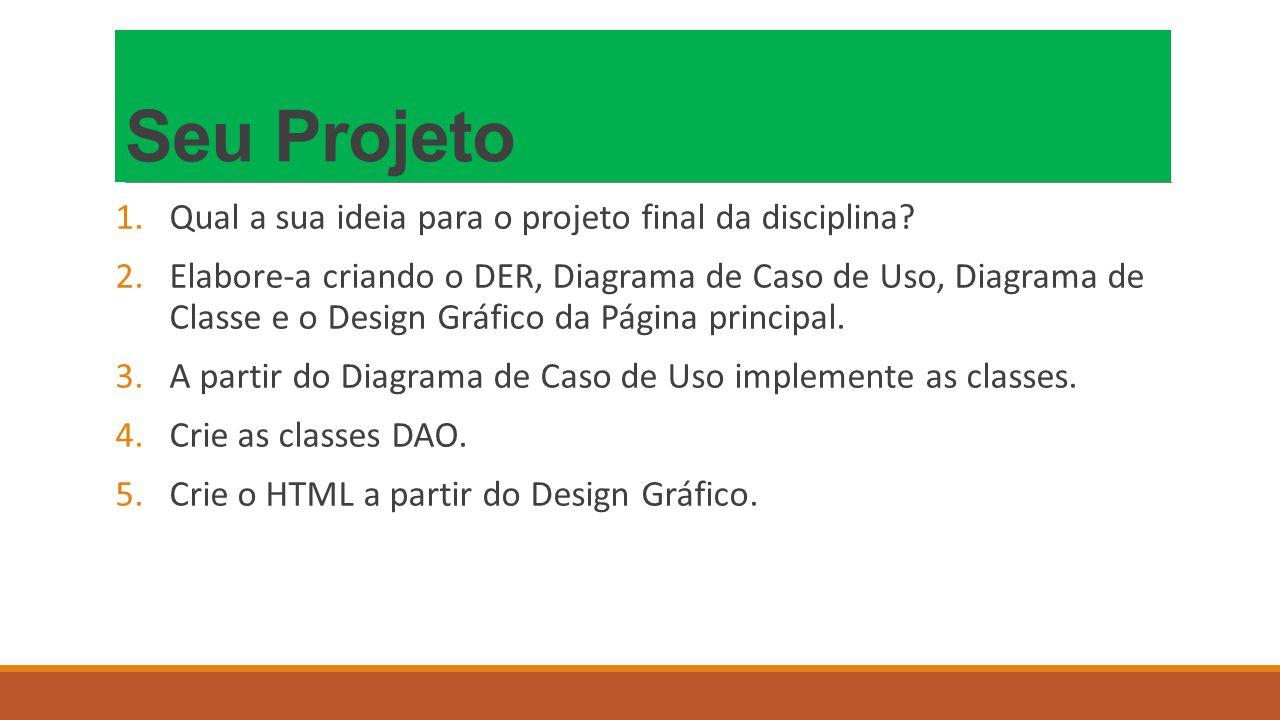 Seu Projeto 1.Qual a sua ideia para o projeto final da disciplina.