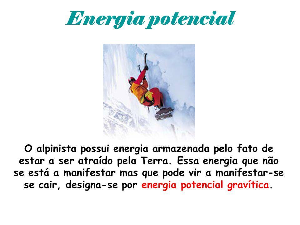 Energia potencial O alpinista possui energia armazenada pelo fato de estar a ser atraído pela Terra. Essa energia que não se está a manifestar mas que