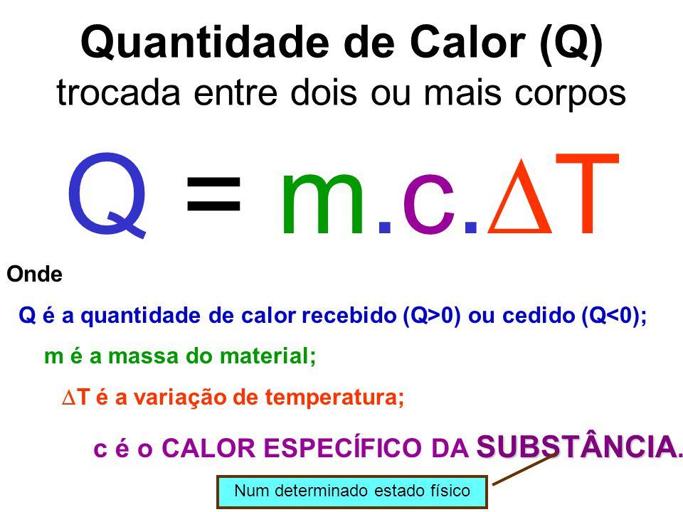 Quantidade de Calor (Q) trocada entre dois ou mais corpos Q = m.c.  T Onde Q é a quantidade de calor recebido (Q>0) ou cedido (Q<0); m é a massa do m