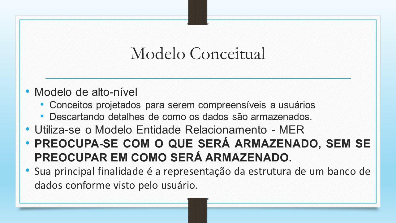 Modelo Conceitual Modelo de alto-nível Conceitos projetados para serem compreensíveis a usuários Descartando detalhes de como os dados são armazenados
