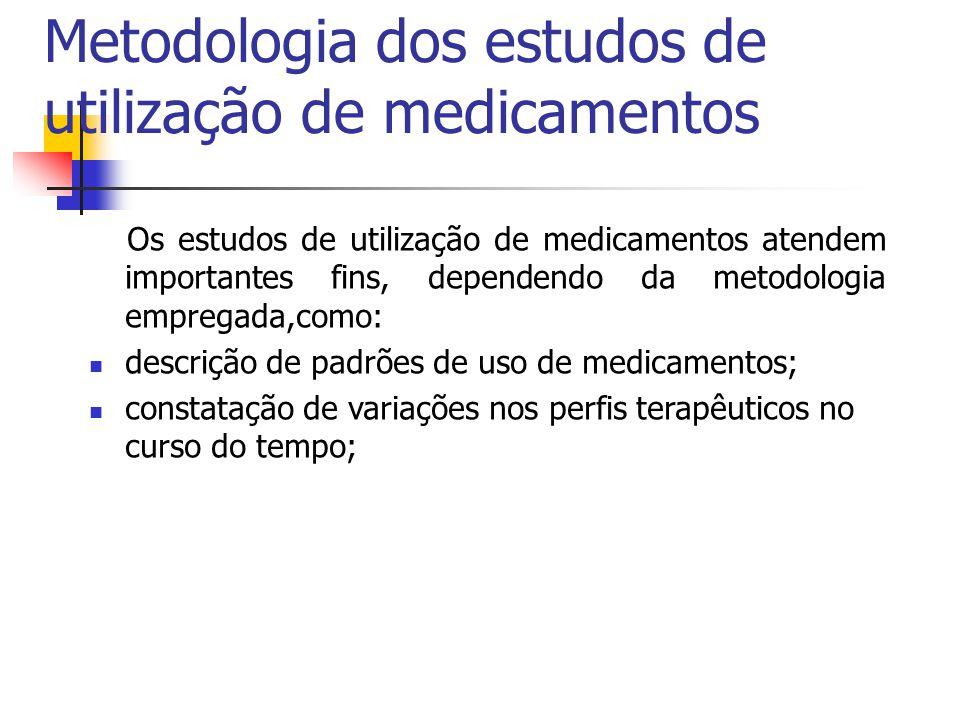 Metodologia dos estudos de utilização de medicamentos Os estudos de utilização de medicamentos atendem importantes fins, dependendo da metodologia emp