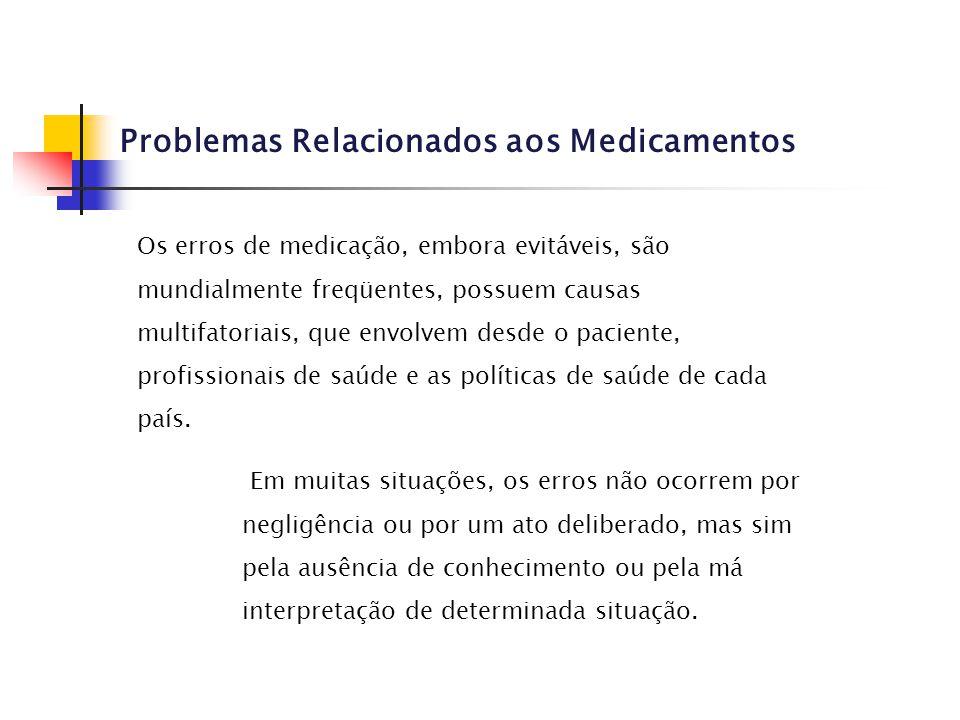 Problemas Relacionados aos Medicamentos Os erros de medicação, embora evitáveis, são mundialmente freqüentes, possuem causas multifatoriais, que envol