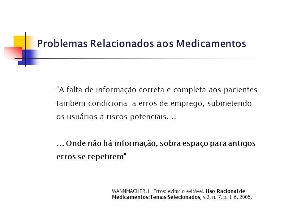 """Problemas Relacionados aos Medicamentos """"A falta de informação correta e completa aos pacientes também condiciona a erros de emprego, submetendo os us"""