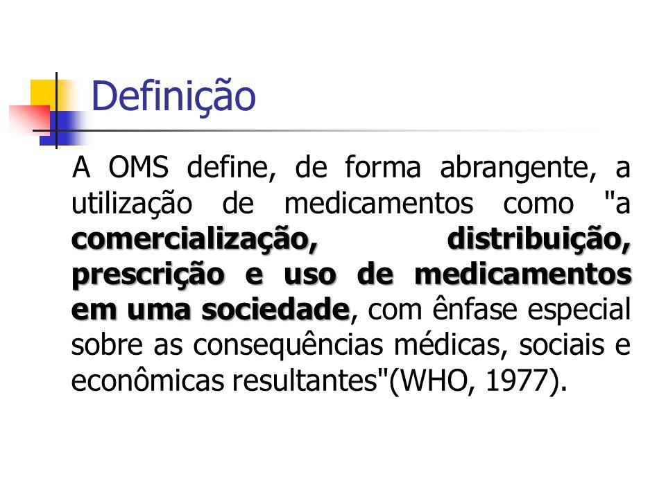 Definição comercialização, distribuição, prescrição e uso de medicamentos em uma sociedade A OMS define, de forma abrangente, a utilização de medicame