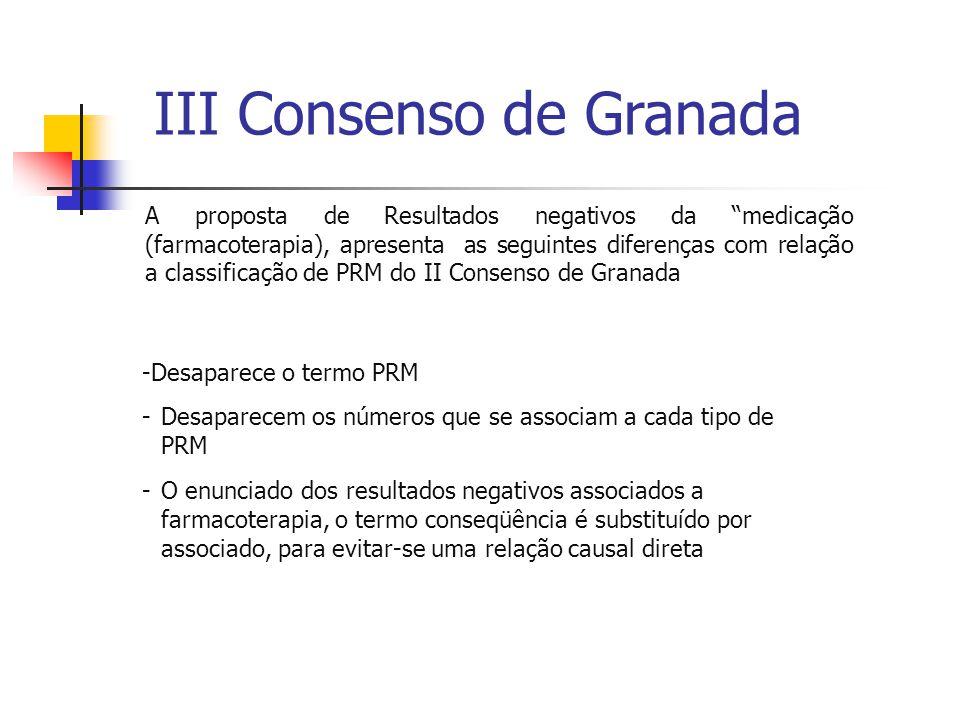 """III Consenso de Granada A proposta de Resultados negativos da """"medicação (farmacoterapia), apresenta as seguintes diferenças com relação a classificaç"""
