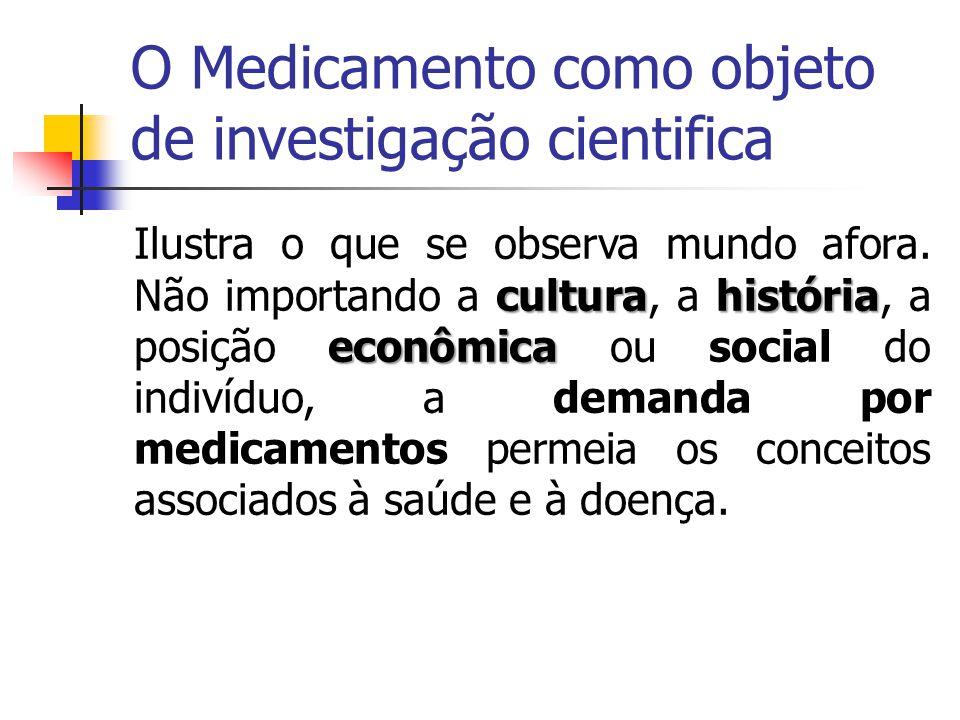 O Medicamento como objeto de investigação cientifica culturahistória econômica Ilustra o que se observa mundo afora. Não importando a cultura, a histó