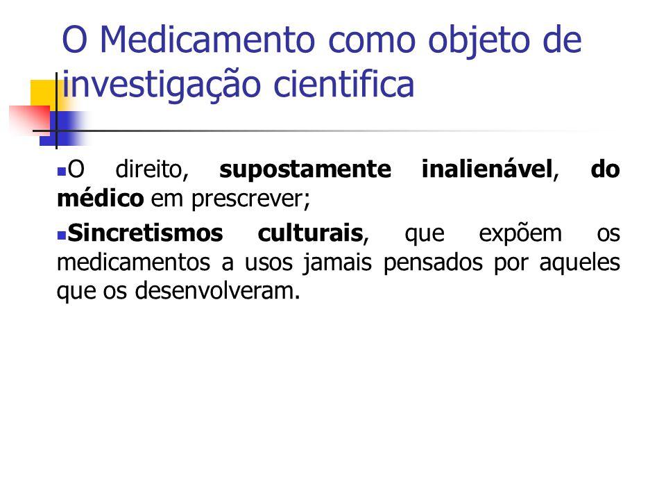 O Medicamento como objeto de investigação cientifica O direito, supostamente inalienável, do médico em prescrever; Sincretismos culturais, que expõem