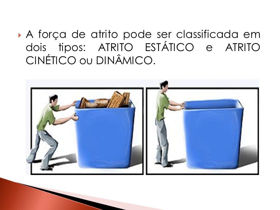  A força de atrito pode ser classificada em dois tipos: ATRITO ESTÁTICO e ATRITO CINÉTICO ou DINÂMICO.