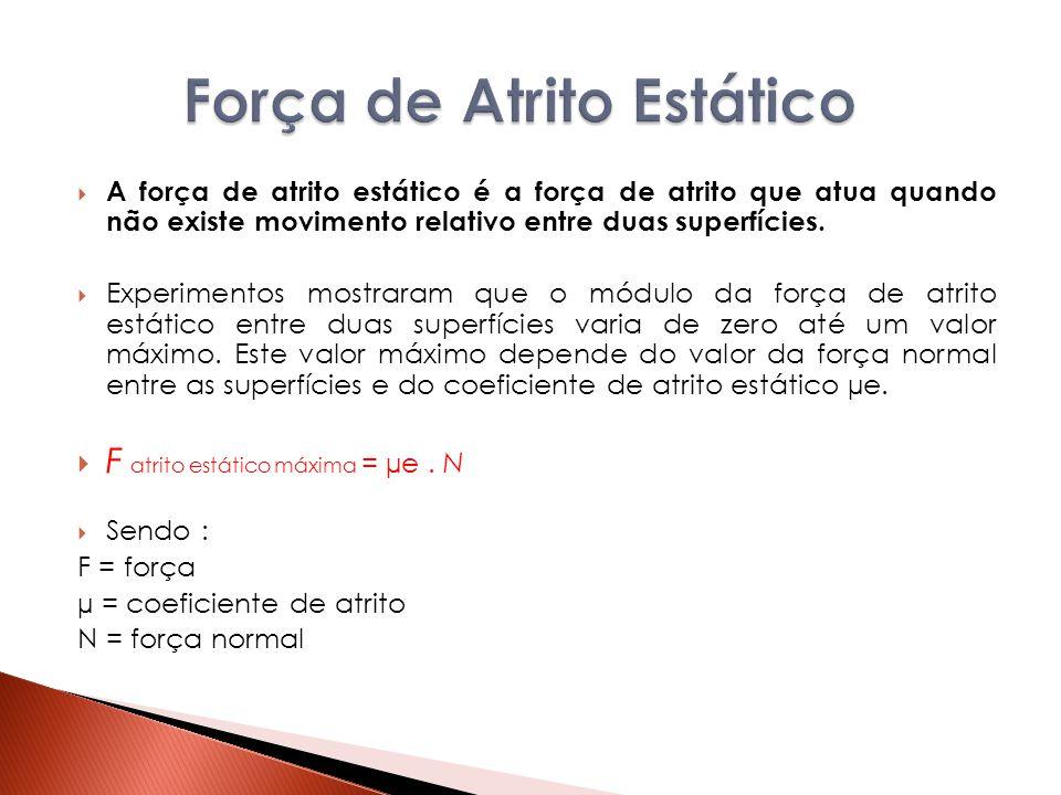 A força de atrito estático é a força de atrito que atua quando não existe movimento relativo entre duas superfícies.  Experimentos mostraram que o