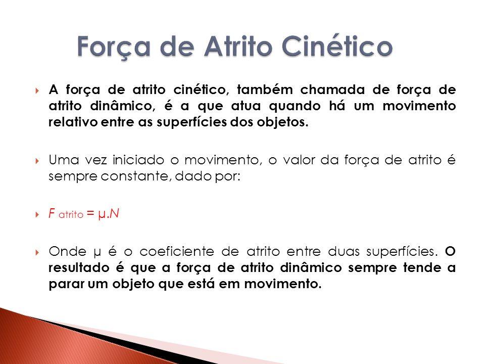  A força de atrito cinético, também chamada de força de atrito dinâmico, é a que atua quando há um movimento relativo entre as superfícies dos objeto
