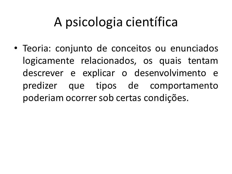 A psicologia científica Teoria: conjunto de conceitos ou enunciados logicamente relacionados, os quais tentam descrever e explicar o desenvolvimento e