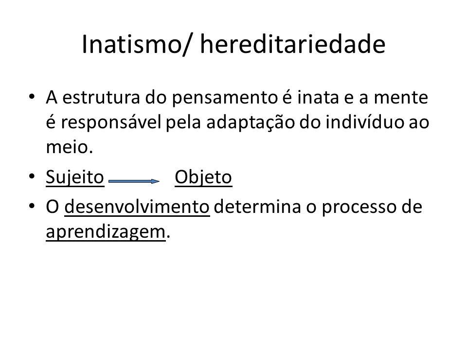 Inatismo/ hereditariedade A estrutura do pensamento é inata e a mente é responsável pela adaptação do indivíduo ao meio. Sujeito Objeto O desenvolvime