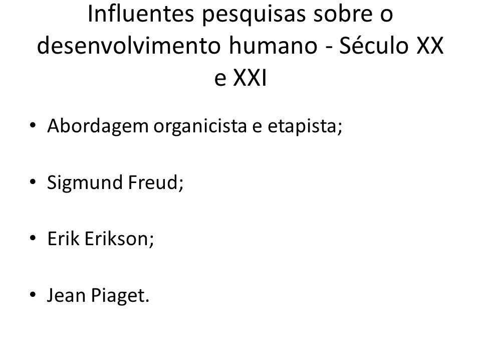 Influentes pesquisas sobre o desenvolvimento humano - Século XX e XXI Abordagem organicista e etapista; Sigmund Freud; Erik Erikson; Jean Piaget.