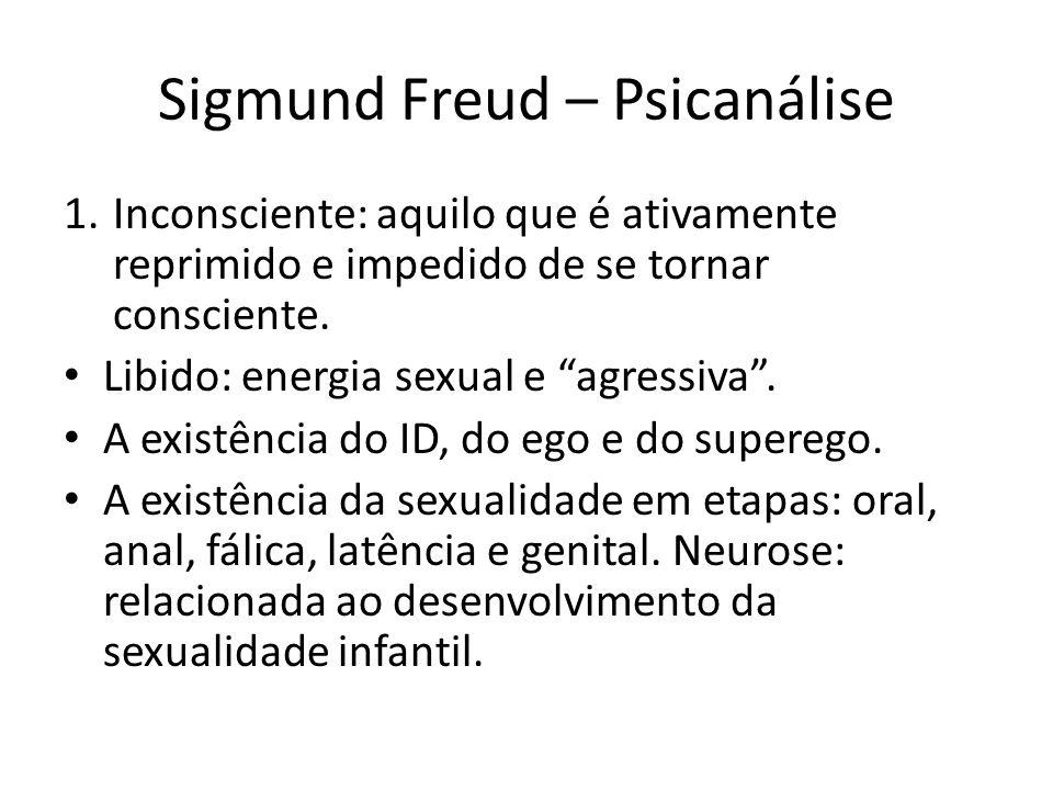 """Sigmund Freud – Psicanálise 1.Inconsciente: aquilo que é ativamente reprimido e impedido de se tornar consciente. Libido: energia sexual e """"agressiva"""""""