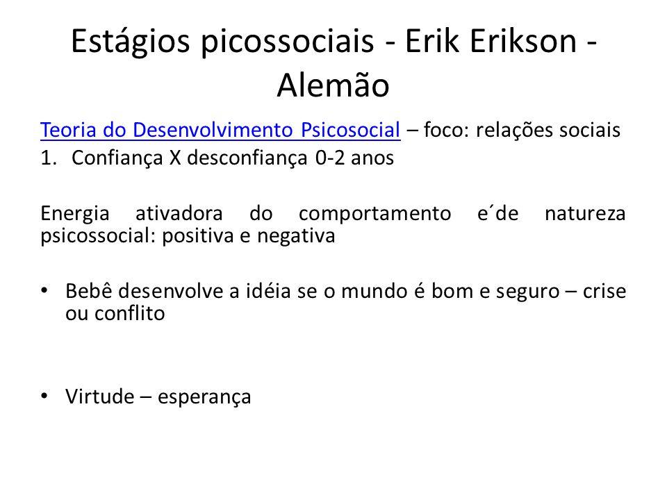 Estágios picossociais - Erik Erikson - Alemão Teoria do Desenvolvimento PsicosocialTeoria do Desenvolvimento Psicosocial – foco: relações sociais 1.Co