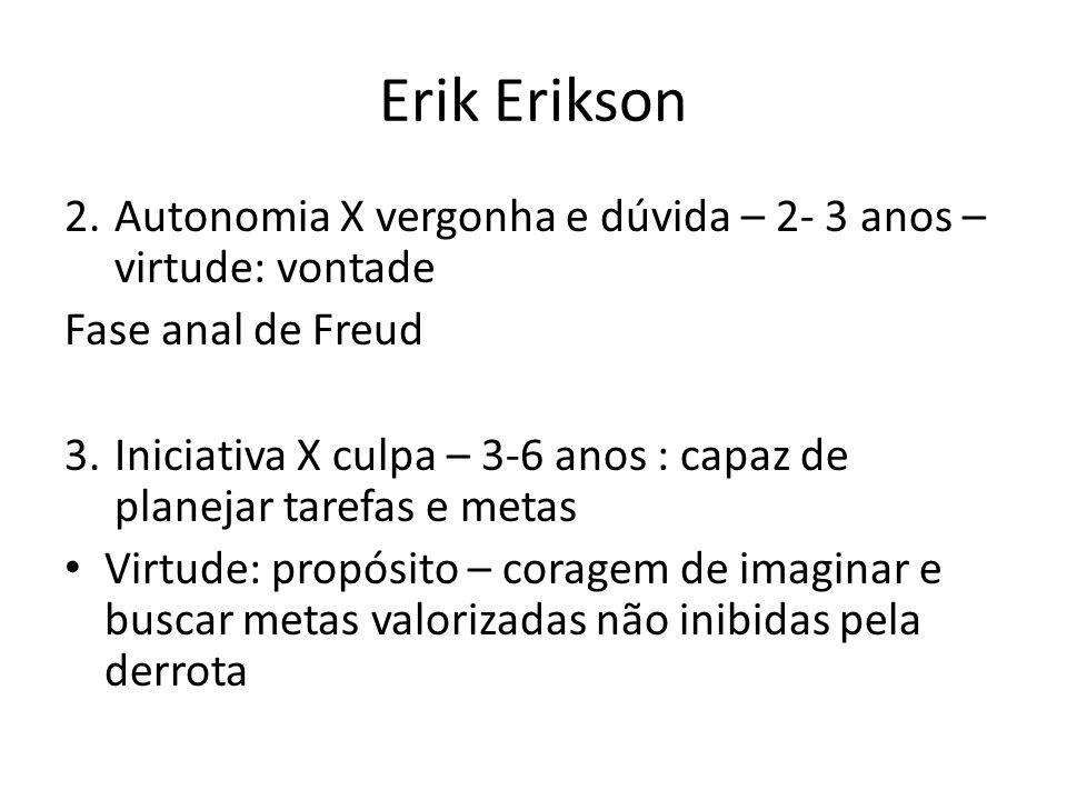 Erik Erikson 2.Autonomia X vergonha e dúvida – 2- 3 anos – virtude: vontade Fase anal de Freud 3.Iniciativa X culpa – 3-6 anos : capaz de planejar tar