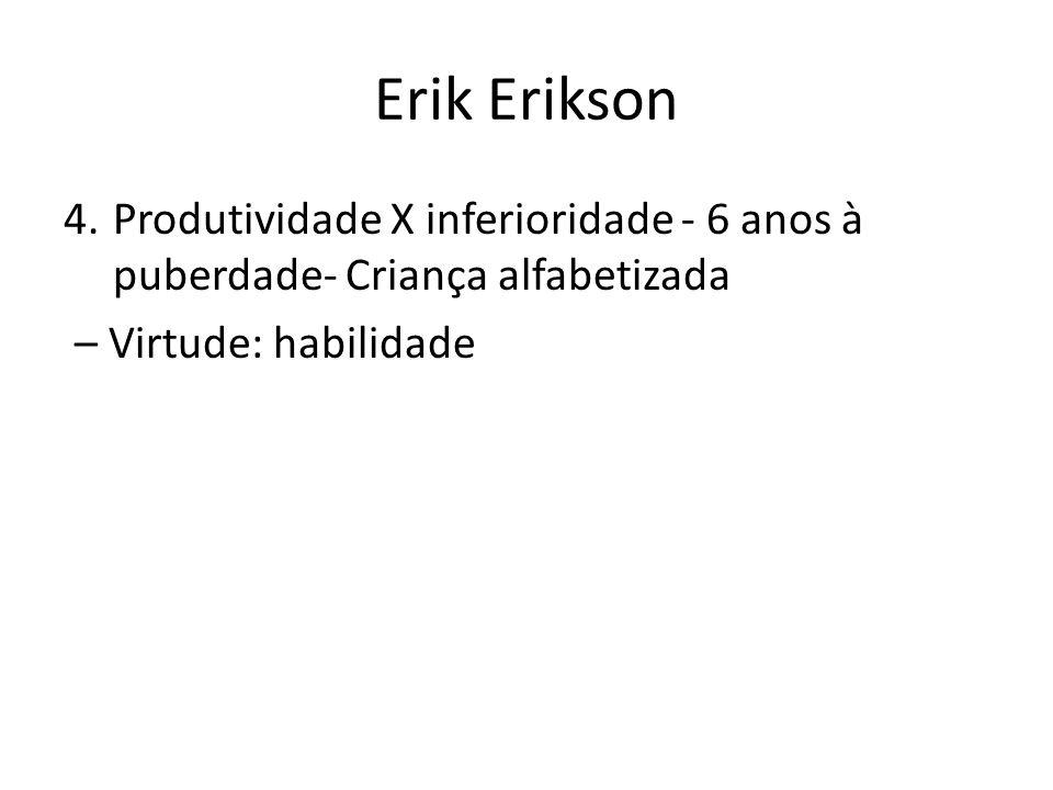 Erik Erikson 4.Produtividade X inferioridade - 6 anos à puberdade- Criança alfabetizada – Virtude: habilidade