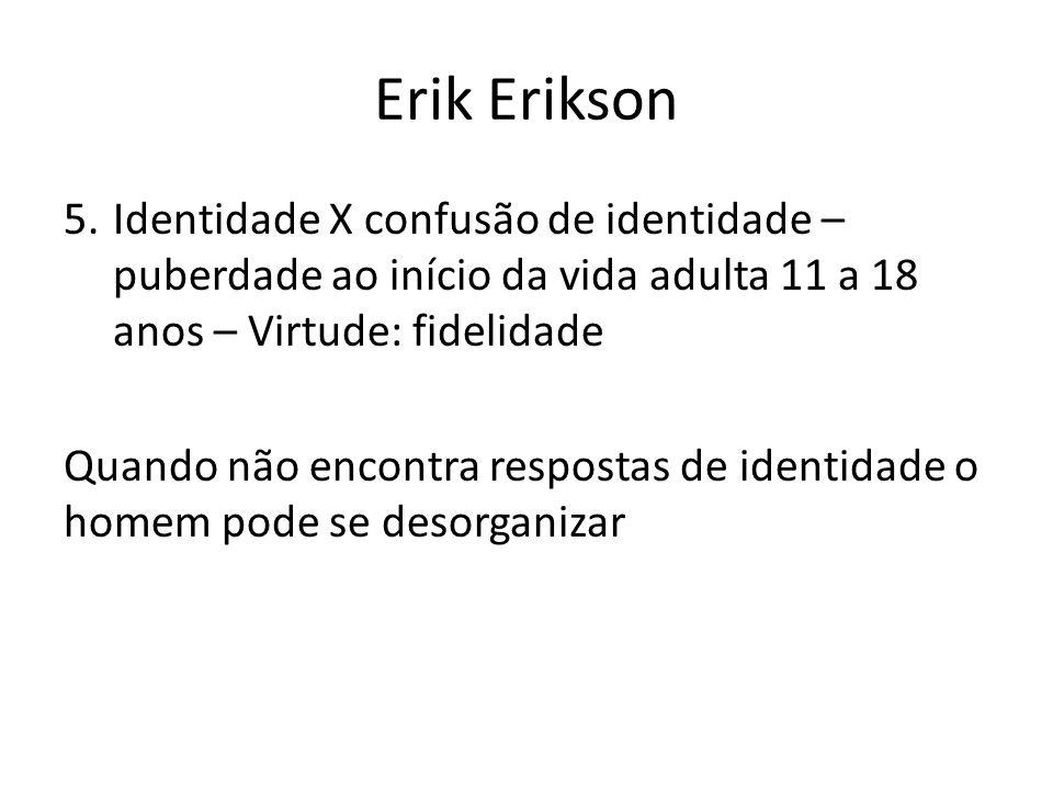 Erik Erikson 5.Identidade X confusão de identidade – puberdade ao início da vida adulta 11 a 18 anos – Virtude: fidelidade Quando não encontra respost