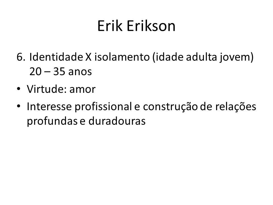 Erik Erikson 6.Identidade X isolamento (idade adulta jovem) 20 – 35 anos Virtude: amor Interesse profissional e construção de relações profundas e dur