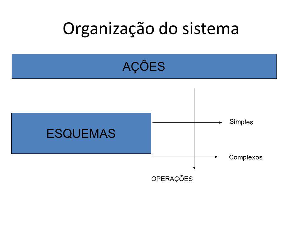 Organização do sistema AÇÕES ESQUEMAS OPERAÇÕES Simples Complexos