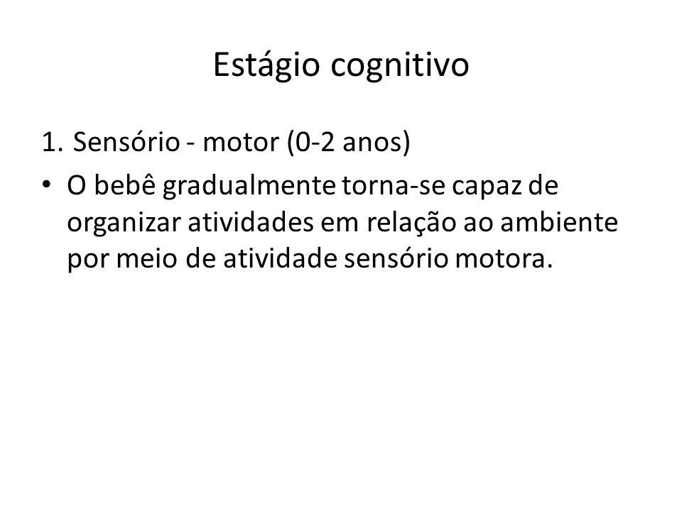 Estágio cognitivo 1.Sensório - motor (0-2 anos) O bebê gradualmente torna-se capaz de organizar atividades em relação ao ambiente por meio de atividad