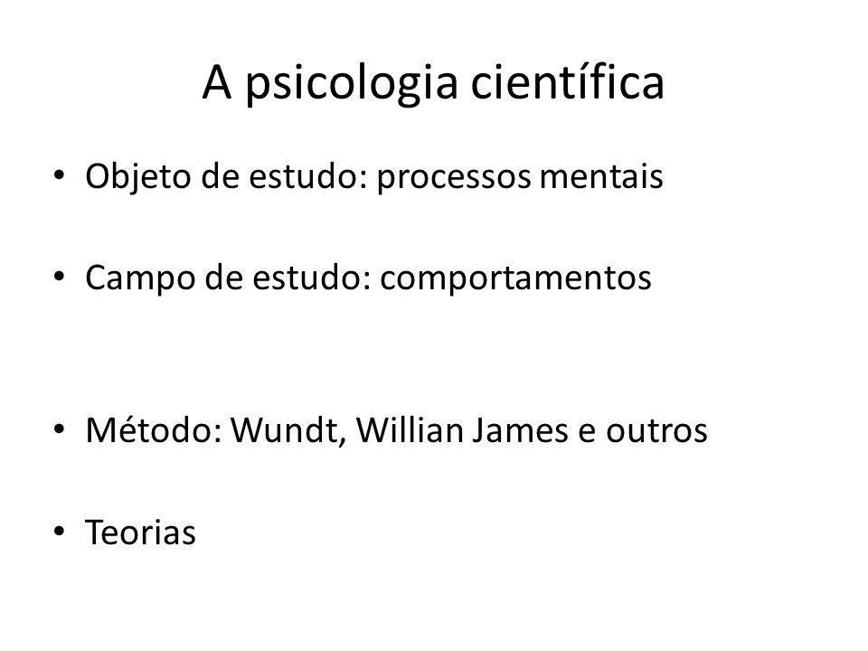 A psicologia científica Objeto de estudo: processos mentais Campo de estudo: comportamentos Método: Wundt, Willian James e outros Teorias