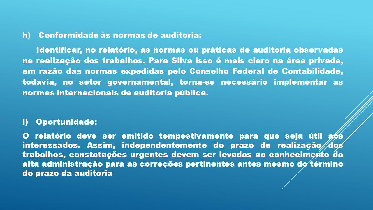 h) Conformidade às normas de auditoria: Identificar, no relatório, as normas ou práticas de auditoria observadas na realização dos trabalhos. Para Sil