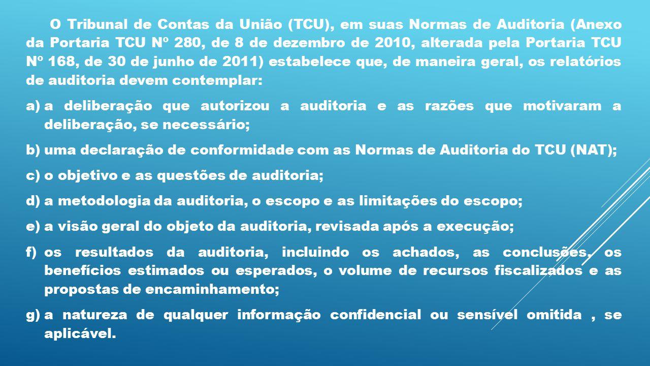O Tribunal de Contas da União (TCU), em suas Normas de Auditoria (Anexo da Portaria TCU Nº 280, de 8 de dezembro de 2010, alterada pela Portaria TCU N