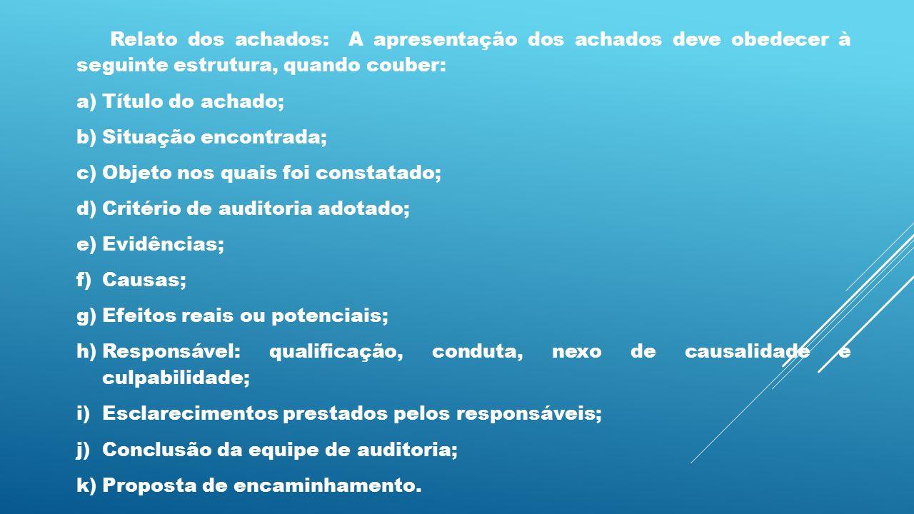 Relato dos achados: A apresentação dos achados deve obedecer à seguinte estrutura, quando couber: a)Título do achado; b)Situação encontrada; c)Objeto