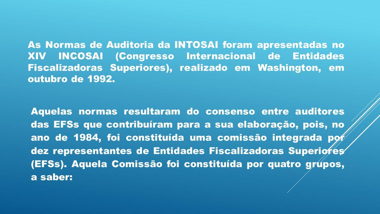 As Normas de Auditoria da INTOSAI foram apresentadas no XIV INCOSAI (Congresso Internacional de Entidades Fiscalizadoras Superiores), realizado em Was