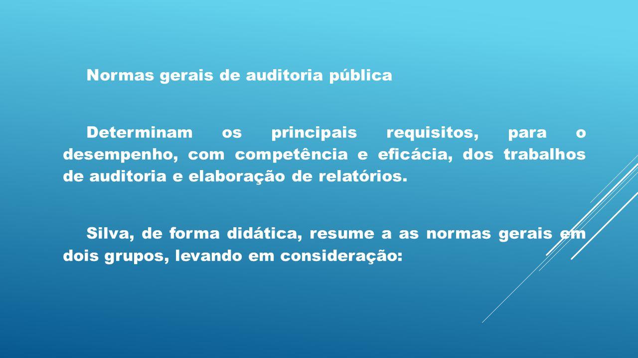 Normas gerais de auditoria pública Determinam os principais requisitos, para o desempenho, com competência e eficácia, dos trabalhos de auditoria e el