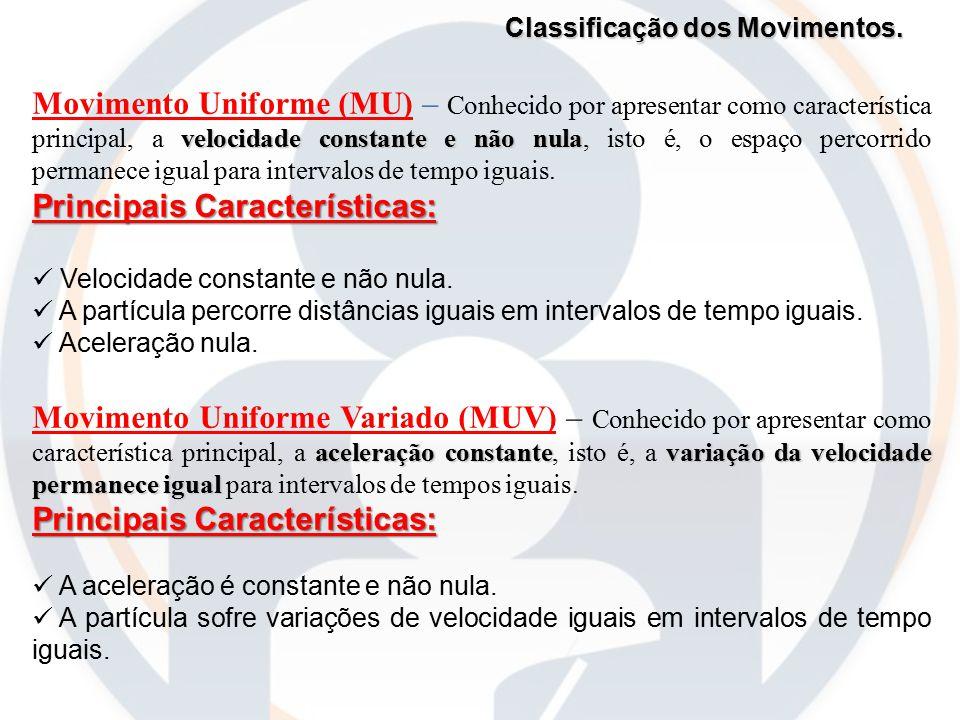 Classificação dos Movimentos. velocidade constante e não nula Movimento Uniforme (MU) – Conhecido por apresentar como característica principal, a velo