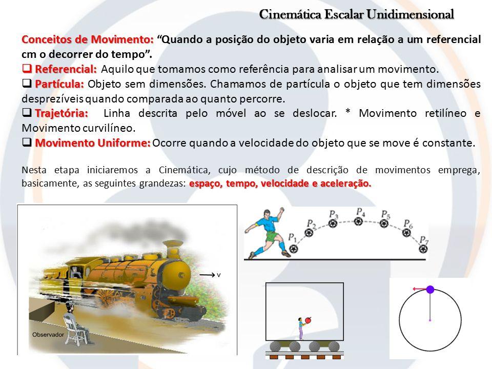 """Cinemática Escalar Unidimensional Conceitos de Movimento: Conceitos de Movimento: """"Quando a posição do objeto varia em relação a um referencial cm o d"""