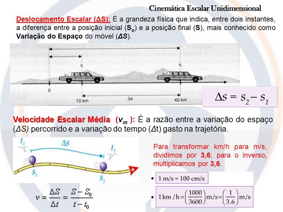 Cinemática Escalar Unidimensional Deslocamento Escalar (ΔS): É a grandeza física que indica, entre dois instantes, a diferença entre a posição inicial