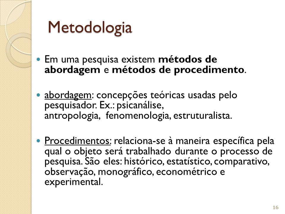Em uma pesquisa existem métodos de abordagem e métodos de procedimento. abordagem: concepções teóricas usadas pelo pesquisador. Ex.: psicanálise, antr