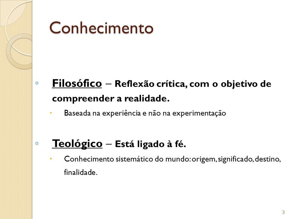 ◦ Filosófico – Reflexão crítica, com o objetivo de compreender a realidade.  Baseada na experiência e não na experimentação ◦ Teológico – Está ligado