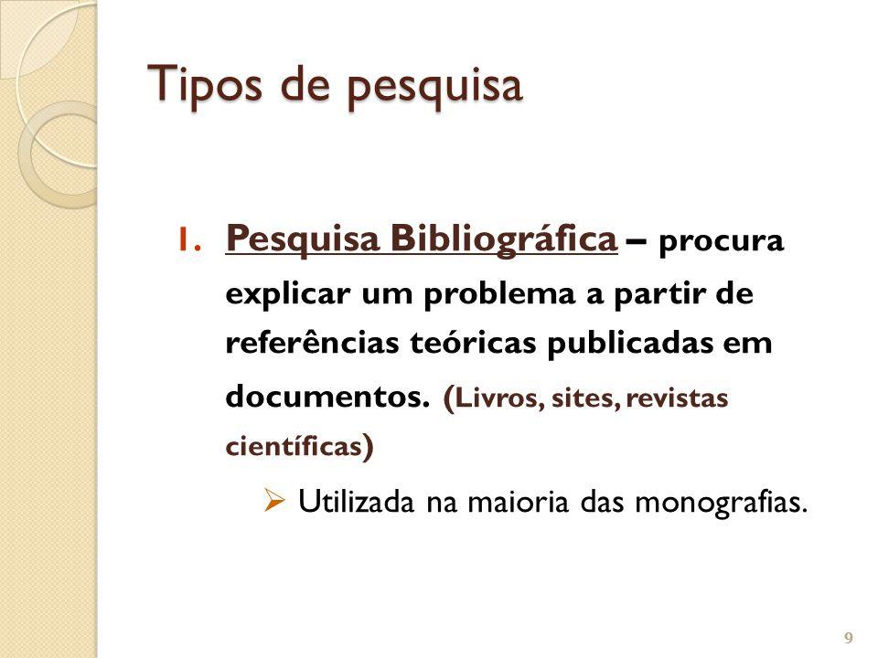 1. Pesquisa Bibliográfica – procura explicar um problema a partir de referências teóricas publicadas em documentos. ( Livros, sites, revistas científi
