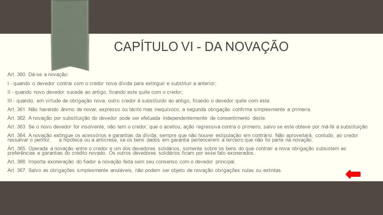CAPÍTULO VI - DA NOVAÇÃO Art. 360. Dá-se a novação: I - quando o devedor contrai com o credor nova dívida para extinguir e substituir a anterior; II -