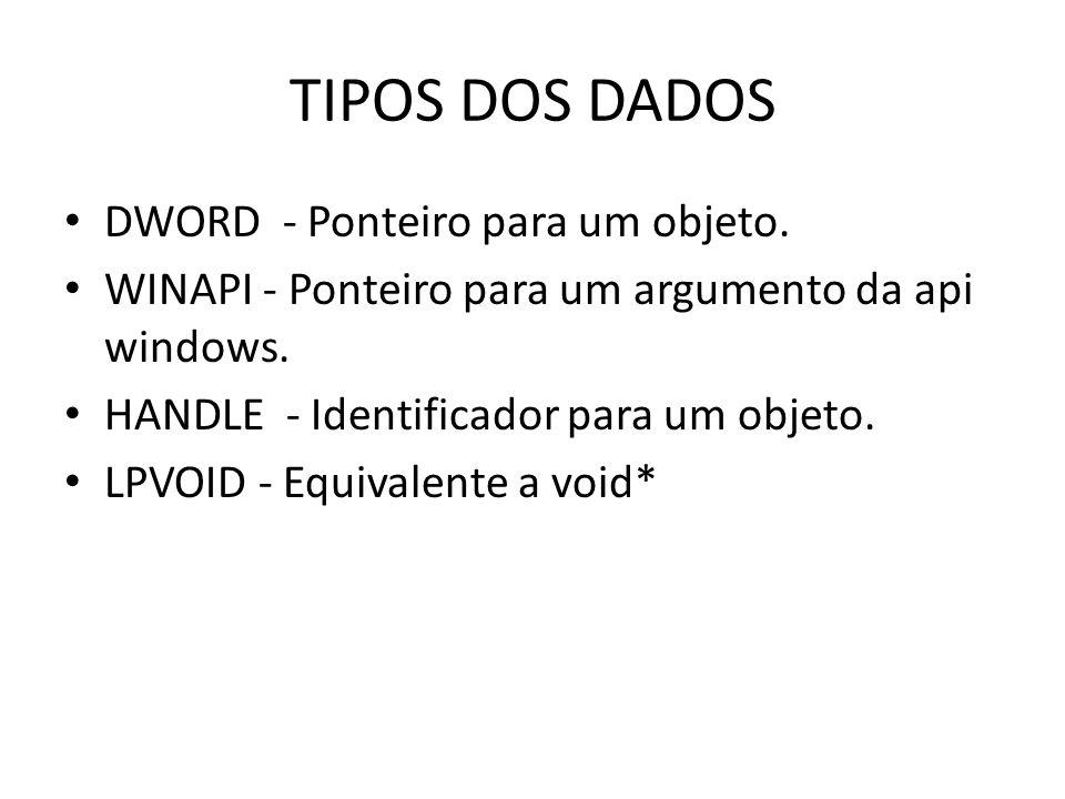 TIPOS DOS DADOS DWORD - Ponteiro para um objeto. WINAPI - Ponteiro para um argumento da api windows. HANDLE - Identificador para um objeto. LPVOID - E