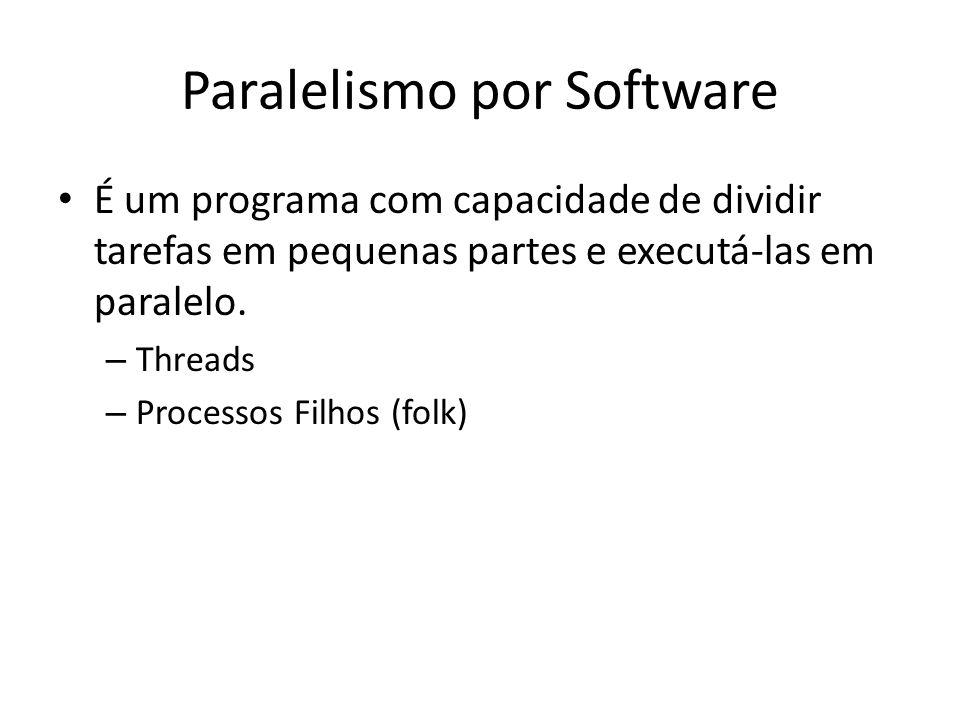 Paralelismo por Software É um programa com capacidade de dividir tarefas em pequenas partes e executá-las em paralelo. – Threads – Processos Filhos (f