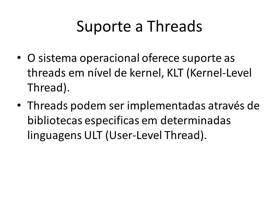 Suporte a Threads O sistema operacional oferece suporte as threads em nível de kernel, KLT (Kernel-Level Thread). Threads podem ser implementadas atra